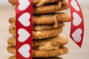 Stack of cookies with heart ribbon