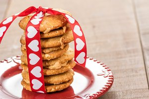 Valentine's day cookies on plate