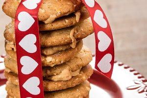 Stack of Valentine cookies