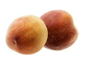 Two Peaches On White Background