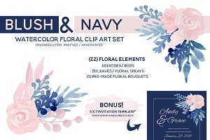 Blush Navy Watercolor Floral Clipart