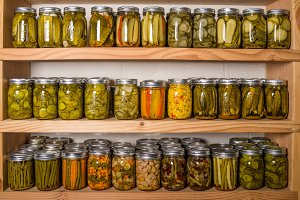 Canning shelves with food