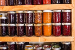 Jams and jellies on shelves