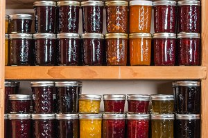 Fresh preserves in pantry