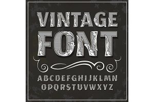 Vector vintage font. Retro font.