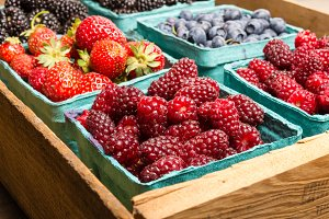 Boxes of assorted berries