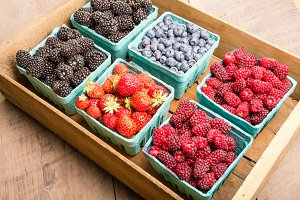 Boxes of fresh berries