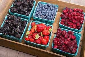 Berries in a wooden box