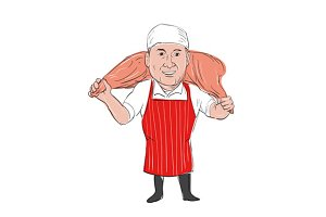 Butcher Carrying Leg of Ham Cartoon