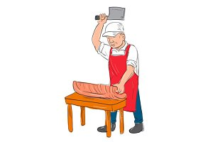 Butcher Cutting Meat Cartoon