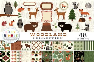 Woodland Collection Clipart Paper