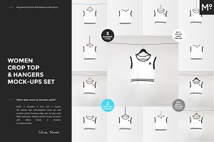 Women Crop Top & Hangers Mock-ups