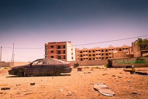 Abandoned city due to war