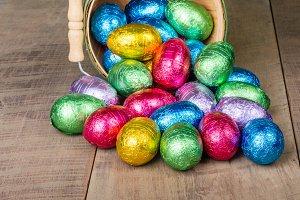 Wicker basket of candy eggs