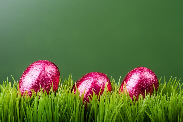 Grass and three foil eggs