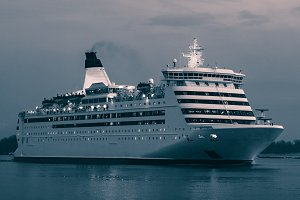Blue cruise liner
