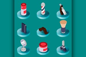 Barber shop flat isometric set
