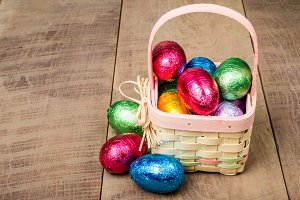 Easter basket with foil eggs
