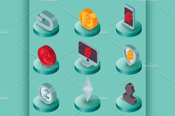 Cryptocurrency Flat Isometric Icons