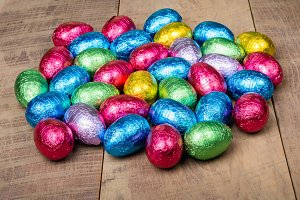 Foil covered candy eggs