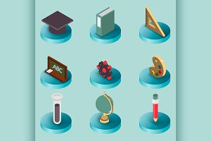 Education flat isometric set