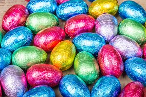 Group of colorful candy eggs