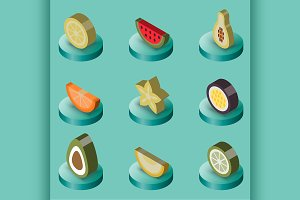 Fruit flat isometric set