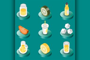 Lemonade flat isometric set