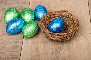 Bird nest with foil eggs