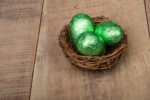 Bird nest with green eggs