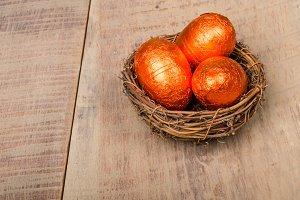 Bird nest with orange eggs