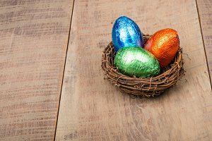 Bird nest with candy eggs