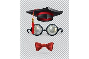 Academic cap, glasses and bow tie