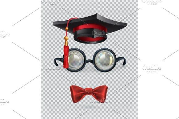 Academic Cap Glasses And Bow Tie