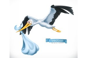 Stork brings a child. Vector icon
