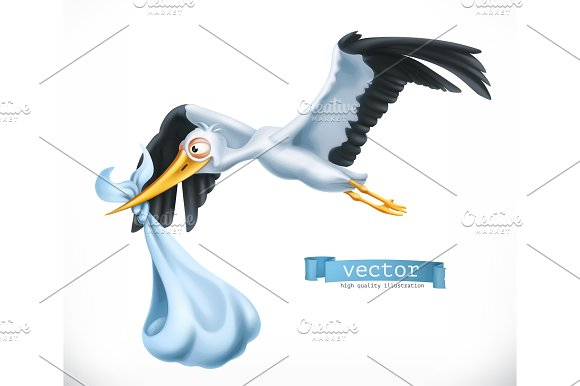Stork Brings A Child Vector Icon