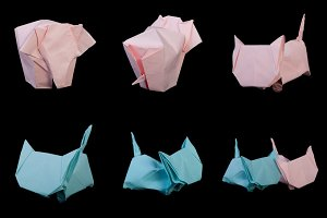 Origami crane bird, elefant,cat,fish