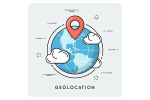 Geolocation and navigation. Thin line concept.