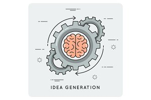 Idea generation. Linear flat style concept.