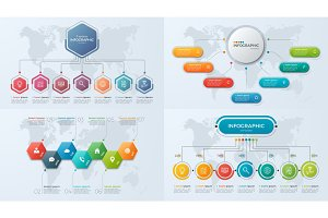 Set of presentation business infographic templates with 7 option
