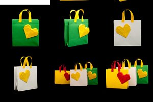 Origami shopping bags with heart