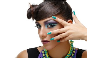Beautiful girl with bright vivid purple make-up