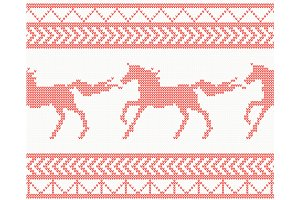 Knitted Horse Seamless Pattern