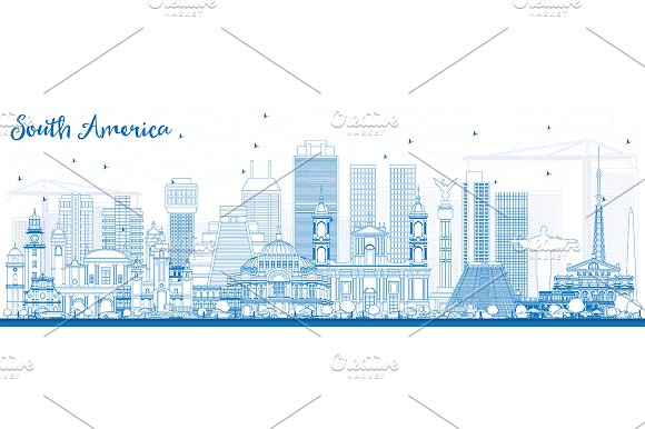 Outline South America Skyline