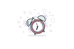 Alarm clock line illustration