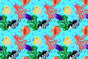 Aquarium fish pattern with corals