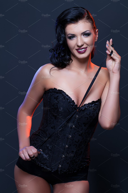 b112d121a67 Beautiful girl in black corset ~ Beauty   Fashion Photos ~ Creative ...