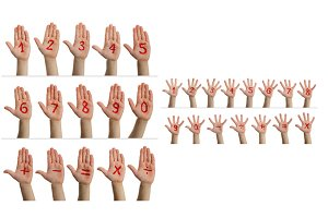 Children's hands with numbers