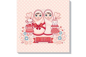 Greeting card of the newborn. Twins