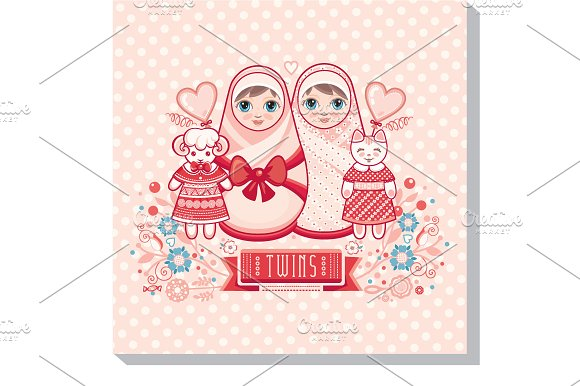 Greeting Card Of The Newborn Twins